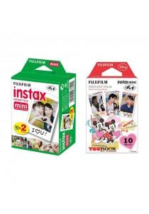 Fujifilm Instax Plain Film 20pcs + Instax Mini Mickey Film (For Instax Mini 7s, 8, 25, 50s, 90, SP-1, SP-2)(Red)