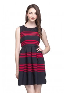 Angel Court Sleeveless Round Neck Elastic Waistband Mini Dress AC37-2784