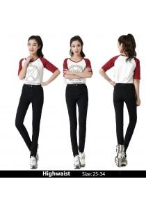 WAORDER Korean Elastic Highwaisted Denim Long Pants - Black 218