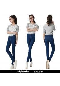 WAORDER Korean Elastic Highwaisted Denim Long Pants - Dark Blue 218