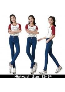WAORDER Korean Elastic Highwaisted Denim Long Pants - Dark Blue 219