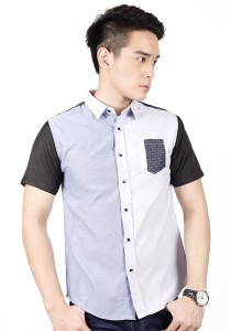 Two Tone Short Sleeve Shirt (Blue White)