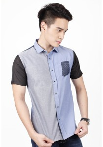 Two Tone Short Sleeve Shirt (Blue Grey)