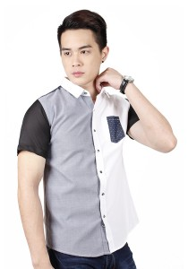 Two Tone Short Sleeve Shirt (Grey White)