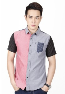 Two Tone Short Sleeve Shirt (Pink Grey)