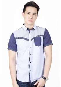 Casual Short Sleeve Shirt (Blue)