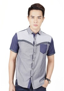 Casual Short Sleeve Shirt (Grey)
