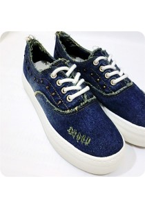 Studded Jeans Canvas Shoes - Blue
