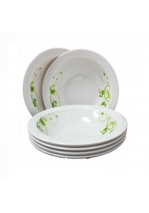Idea Melamine Soup Bowl 6 Pcs Pattern Leaf Green (8.5 inch)