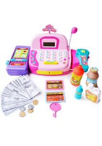 Cash Register Pretend Play Electronic With Calculator Function Pink