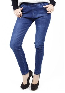 Slim Fit Denim Lady Rubber Waist Jeans - M23195