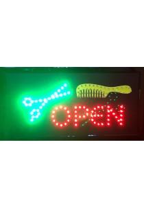LED Sign Board - Open Scissors + Comb
