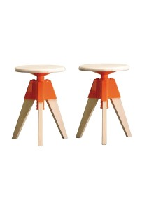 nesthouz.com Cilicia Stool in Whitewash/Orange Colour x 2pcs