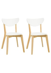 nesthouz.com Naida Dining Chair in Natural/White Colour x 2pcs