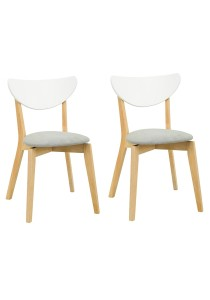 nesthouz.com Naida Dining Chair in Natural/White/Dolphin Colour x 2pcs