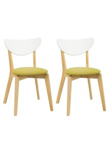 nesthouz.com Naida Dining Chair in Natural/White/Oasis Colour x 2pcs
