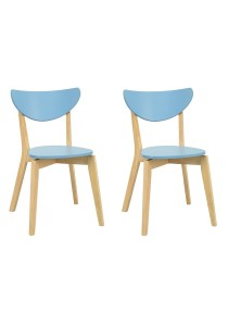 nesthouz.com Naida Dining Chair in Natural/Dust Blue Colour x 2pcs