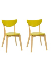 nesthouz.com Naida Dining Chair in Natural/Olive Yellow Colour x 2pcs