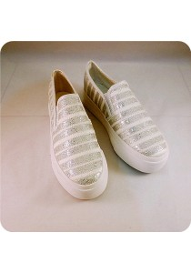 Shinning White Line Canvas Shoes