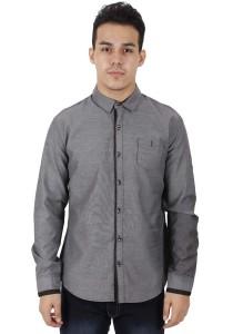 KM Modest Men Casual Plain Long Sleeve Shirt - Grey