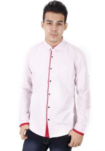 KM Modest Men Casual Plain Long Sleeve Shirt - Pink