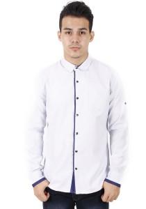 KM Modest Men Casual Plain Long Sleeve Shirt - White