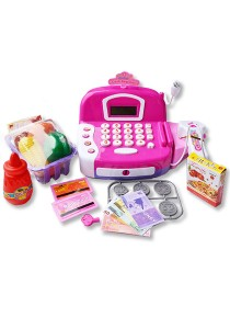 Cash Register Pretend Play Electronic With Calculator Function Purple Pink