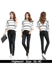 WAORDER Korean Elastic Highwaisted Denim Long Pants - Black 264