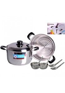 ZEBRA 26cm Sauce Pot with Steaming Plate (FREE 4 Bowls & Spoons)