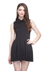 Angel Court Sleeveless Shirt Collar Elastic Waistband Mini Dress AC38-5305