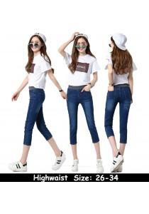 WAORDER Korean Elastic Highwaisted Denim Long Pants - Dark Blue 296