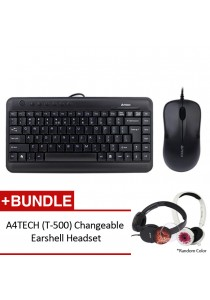 A4Tech Bundle Set of Keyboard KL-5, V-TRACK Padless Wired Mouse OP-560NU & Headset T-500