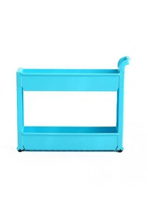 FASHION TEE Storage Rack with Handle and Wheels 2 Tiers (Blue)