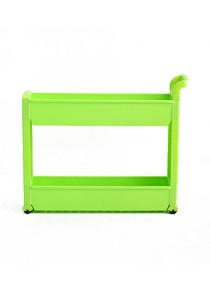 FASHION TEE Storage Rack with Handle and Wheels 2 Tiers (Green)