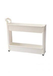 FASHION TEE Storage Rack with Handle and Wheels (White)