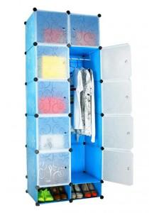 Tupper Cabinet 12 Cubes Blue Flower DIY Wardrobe With Shoe Rack