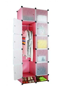 Tupper Cabinet 12 Cubes DIY Wardrobe With Shoe Rack (Pink)