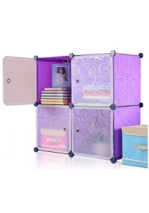 Tupper Cabinet 4 Cubes Square White Stripes Doors Purple Stripes DIY Storage Cabinet