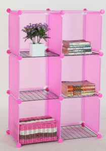 Tupper Cabinet 6 Cubes Pink DIY Storage Rack with Iron Frame Pink