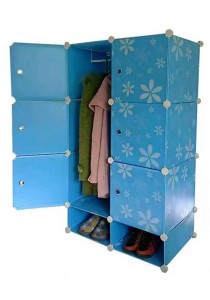 Tupper Cabinet 8 Cubes Blue Flower DIY Wardrobe With Shoe Rack