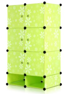 Tupper Cabinet 8 Cubes Green Flower DIY Storage Cubes with Mini Bottom Green Flower