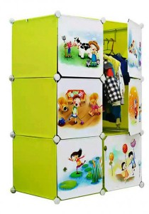 Tupper Cabinet 6 Cubes Fruit Green Cartoon DIY Wardrobe