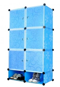 Tupper Cabinet 8 Cubes DIY Cabinet with Shoe Space (Blue Flower)