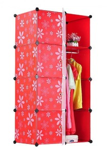 Tupper Cabinet 8 Cubes Mix Stripes Doors DIY Wardrobe (White/Red)