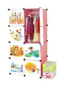 Tupper Cabinet 8 Cubes Pink Color Cartoon DIY Wardrobe