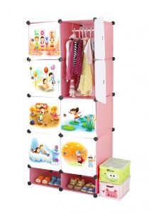 Tupper Cabinet 10 Cubes Pink Color DIY Cartoon (Story) Wardrobe With Shoe Rack