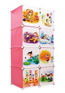 Tupper Cabinet 8 Cubes Pink Color DIY Cartoon(Story) Storage Cubes