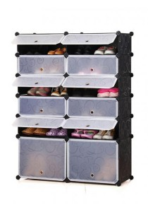 Tupper Cabinet 6 Tier 12 Cubes DIY Shoe Rack - Black Stripes