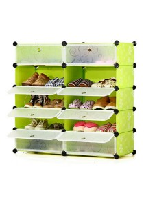 Tupper Cabinet 5 Tier 10 Cubes  DIY Shoe Rack - Green Flower