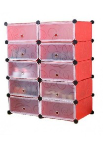 Tupper Cabinet 5 Tier 10 Cubes Red Stripes DIY Shoe Rack